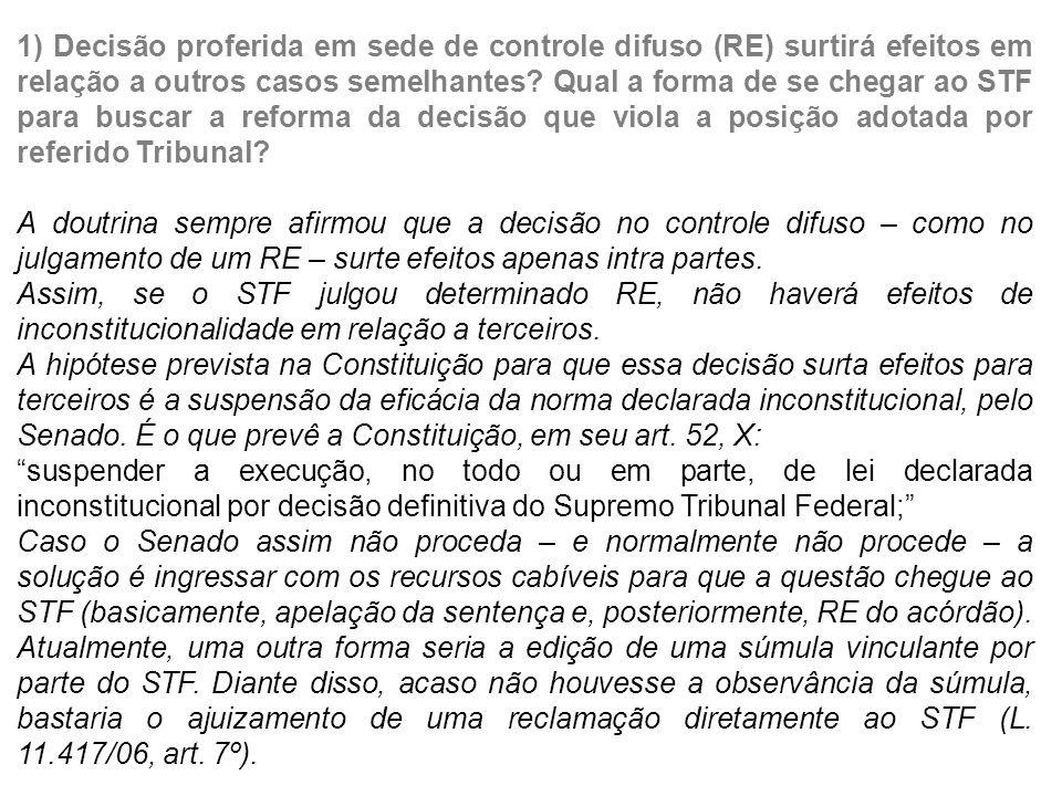 1) Decisão proferida em sede de controle difuso (RE) surtirá efeitos em relação a outros casos semelhantes Qual a forma de se chegar ao STF para buscar a reforma da decisão que viola a posição adotada por referido Tribunal