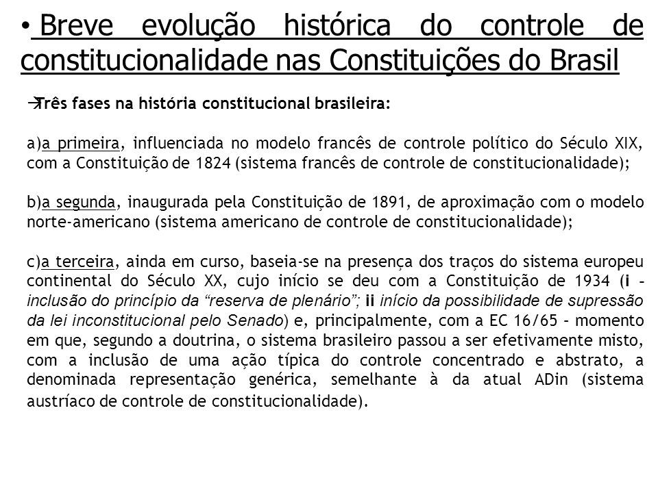 Breve evolução histórica do controle de constitucionalidade nas Constituições do Brasil