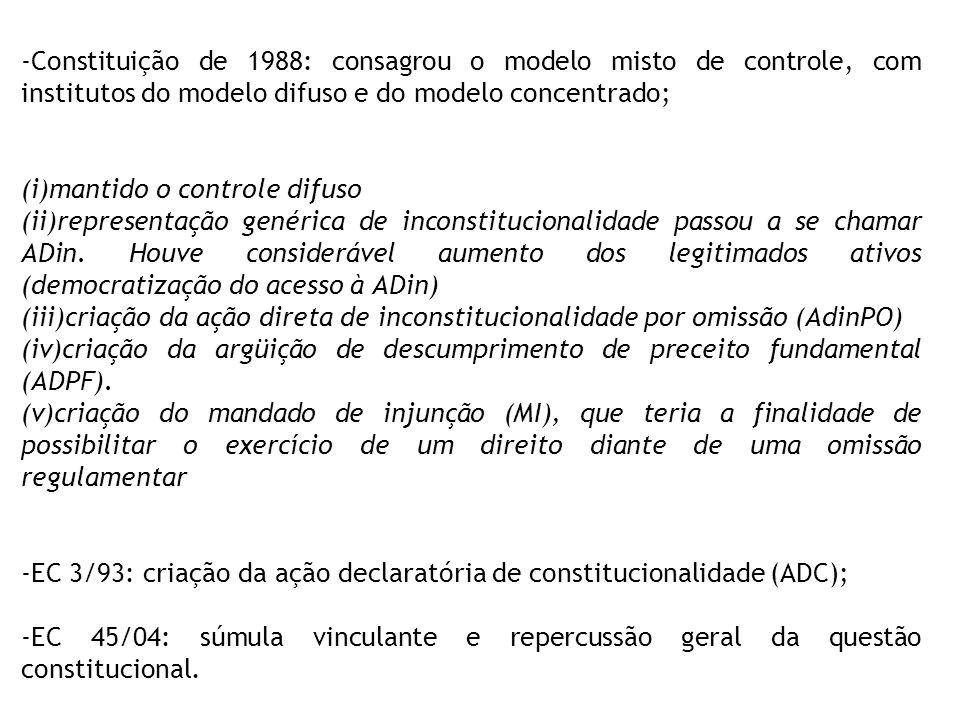 Constituição de 1988: consagrou o modelo misto de controle, com institutos do modelo difuso e do modelo concentrado;
