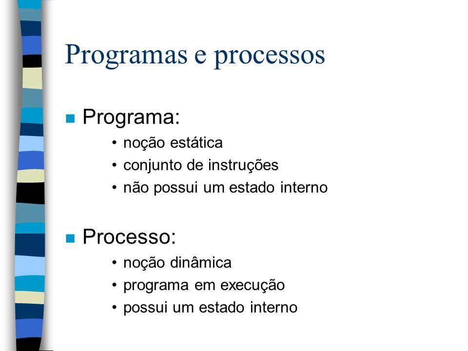 Programas e processos Programa: Processo: noção estática