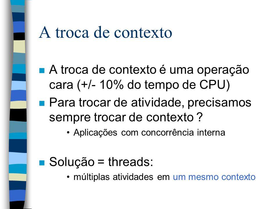 A troca de contexto A troca de contexto é uma operação cara (+/- 10% do tempo de CPU)