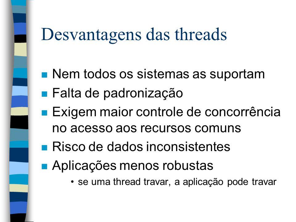 Desvantagens das threads