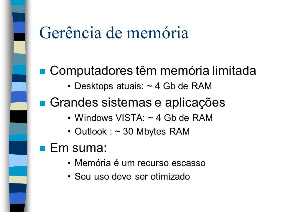 Gerência de memória Computadores têm memória limitada