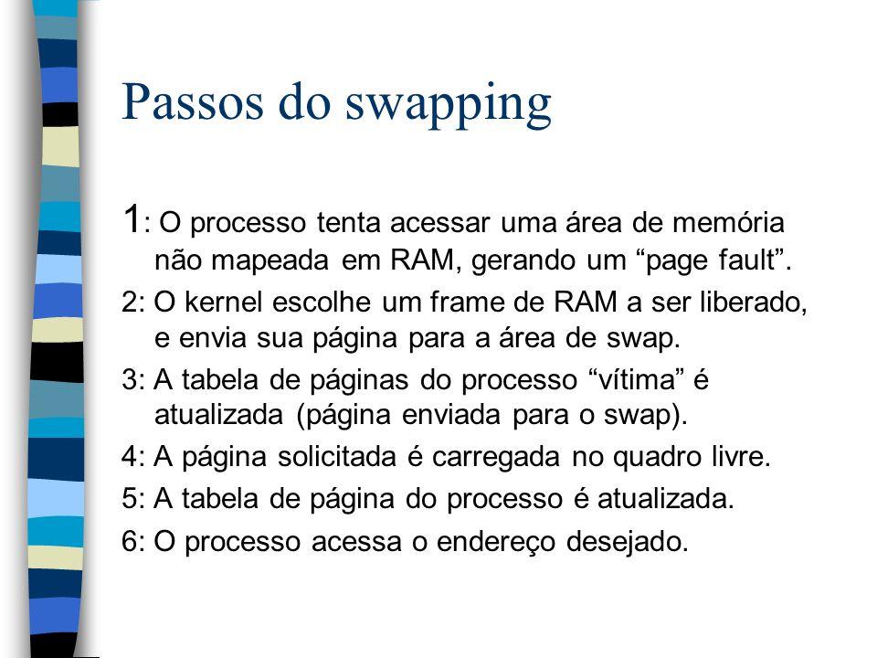 Passos do swapping 1: O processo tenta acessar uma área de memória não mapeada em RAM, gerando um page fault .