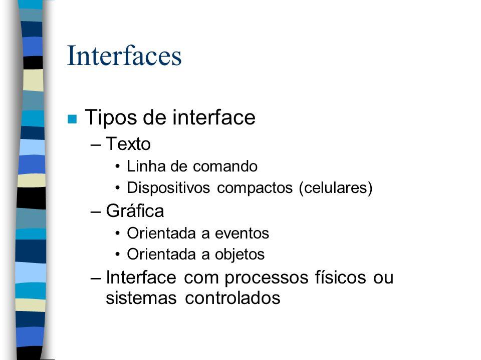Interfaces Tipos de interface Texto Gráfica