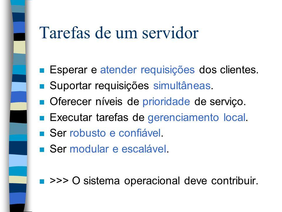 Tarefas de um servidor Esperar e atender requisições dos clientes.