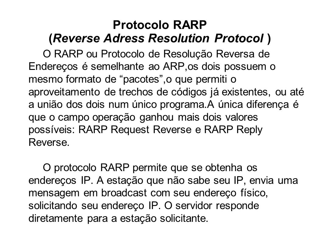 Protocolo RARP (Reverse Adress Resolution Protocol )