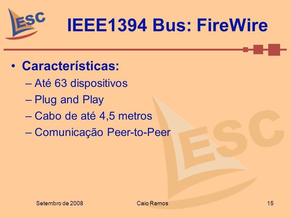 IEEE1394 Bus: FireWire Características: Até 63 dispositivos