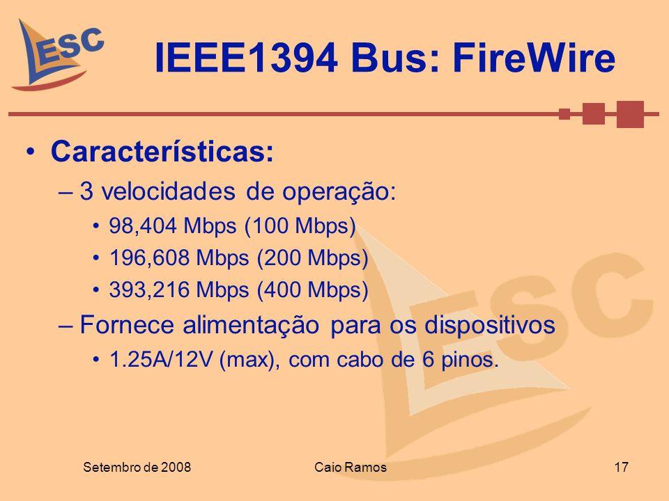 IEEE1394 Bus: FireWire Características: 3 velocidades de operação: