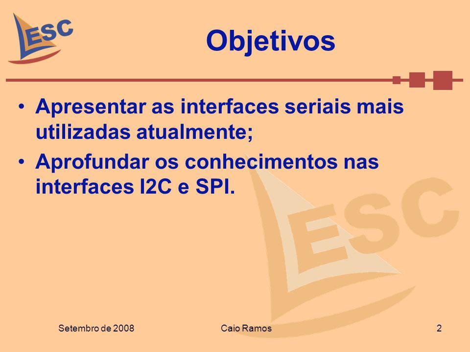 Objetivos Apresentar as interfaces seriais mais utilizadas atualmente;