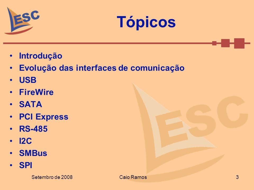 Tópicos Introdução Evolução das interfaces de comunicação USB FireWire