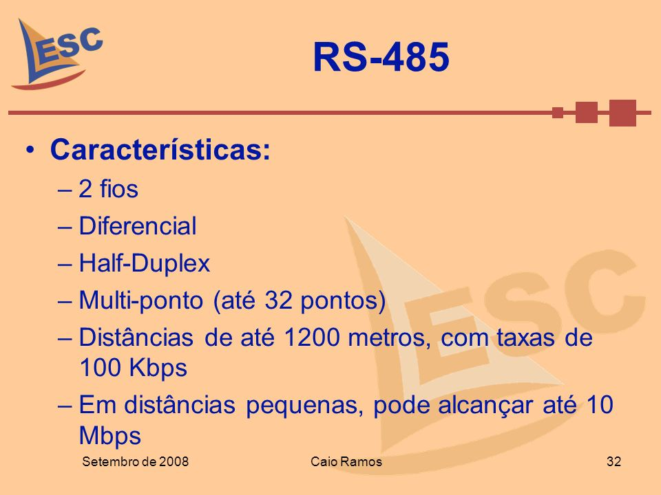 RS-485 Características: 2 fios Diferencial Half-Duplex