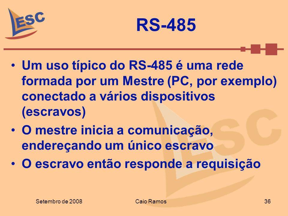 RS-485 Um uso típico do RS-485 é uma rede formada por um Mestre (PC, por exemplo) conectado a vários dispositivos (escravos)