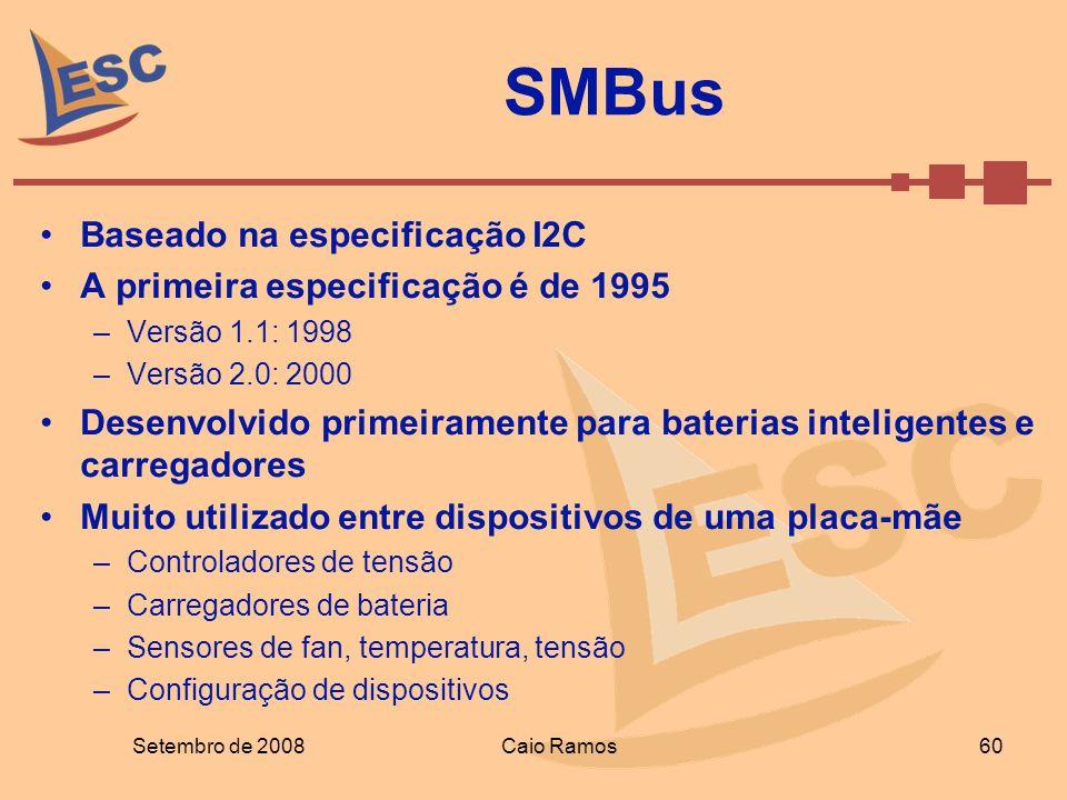 SMBus Baseado na especificação I2C A primeira especificação é de 1995