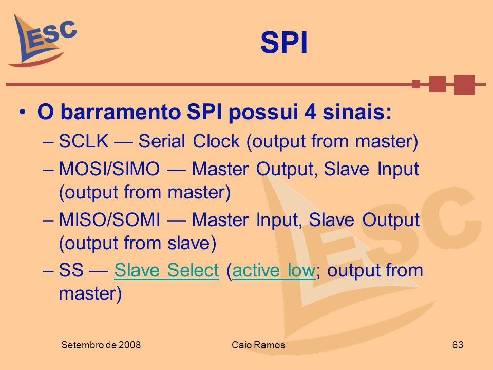 SPI O barramento SPI possui 4 sinais: