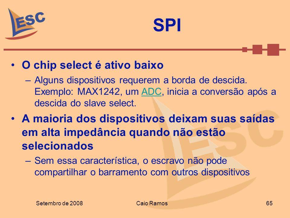 SPI O chip select é ativo baixo