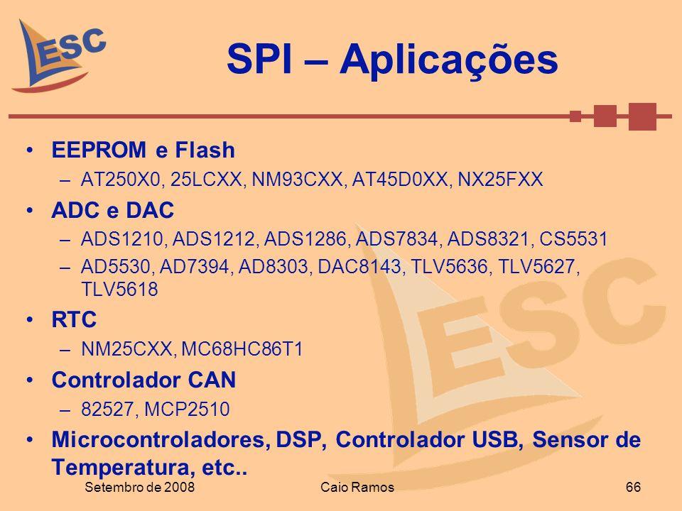 SPI – Aplicações EEPROM e Flash ADC e DAC RTC Controlador CAN