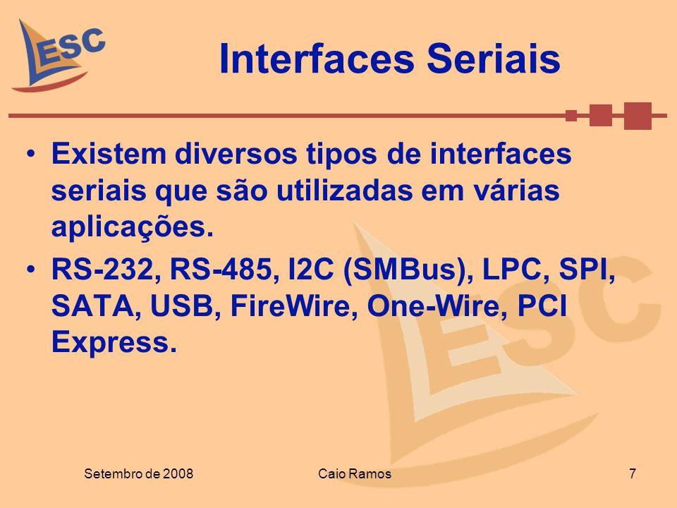Interfaces Seriais Existem diversos tipos de interfaces seriais que são utilizadas em várias aplicações.