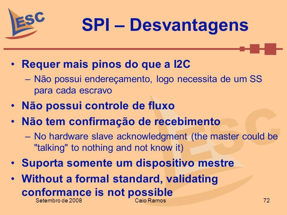 SPI – Desvantagens Requer mais pinos do que a I2C
