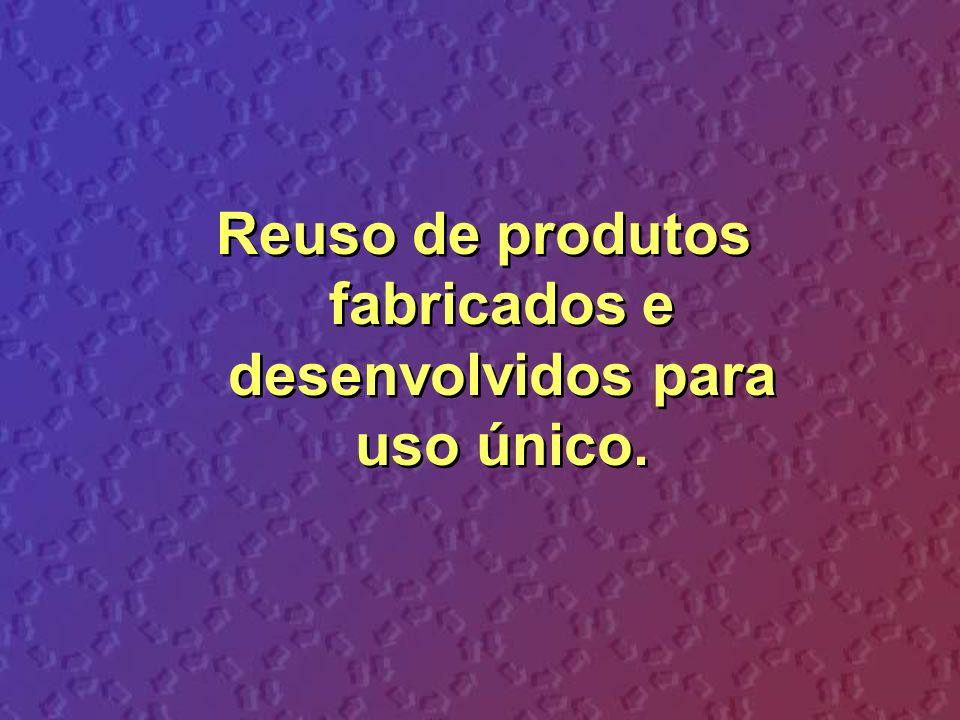 Reuso de produtos fabricados e desenvolvidos para uso único.