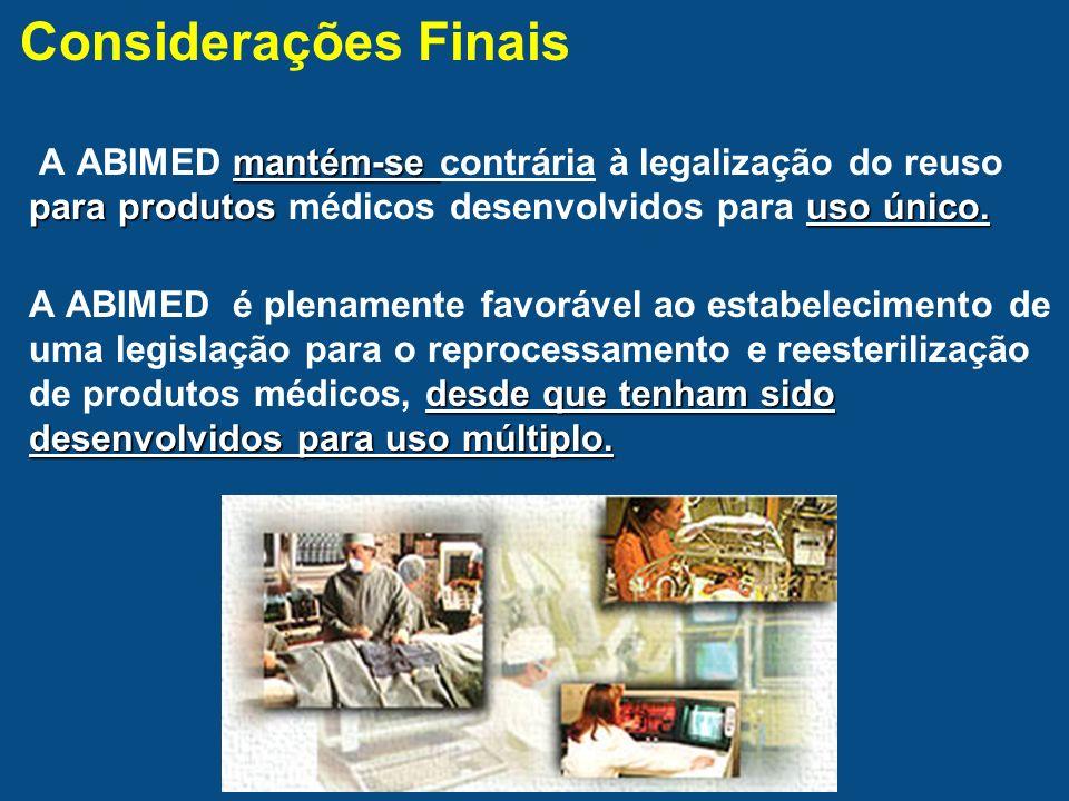 Considerações Finais A ABIMED mantém-se contrária à legalização do reuso para produtos médicos desenvolvidos para uso único.