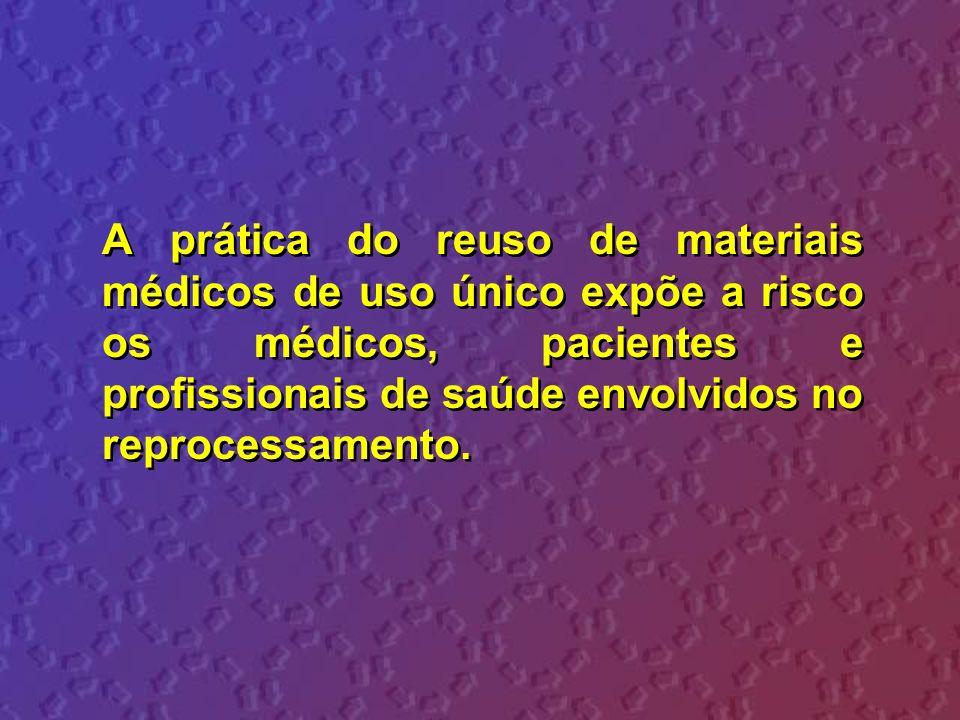 A prática do reuso de materiais médicos de uso único expõe a risco os médicos, pacientes e profissionais de saúde envolvidos no reprocessamento.