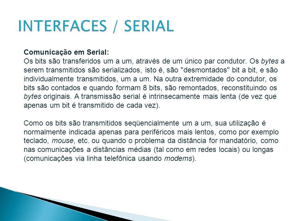 INTERFACES / SERIAL Comunicação em Serial: