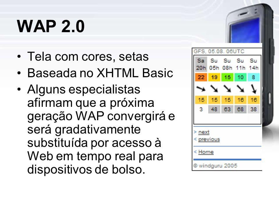 WAP 2.0 Tela com cores, setas Baseada no XHTML Basic