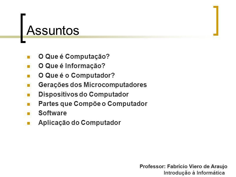 Assuntos O Que é Computação O Que é Informação O Que é o Computador