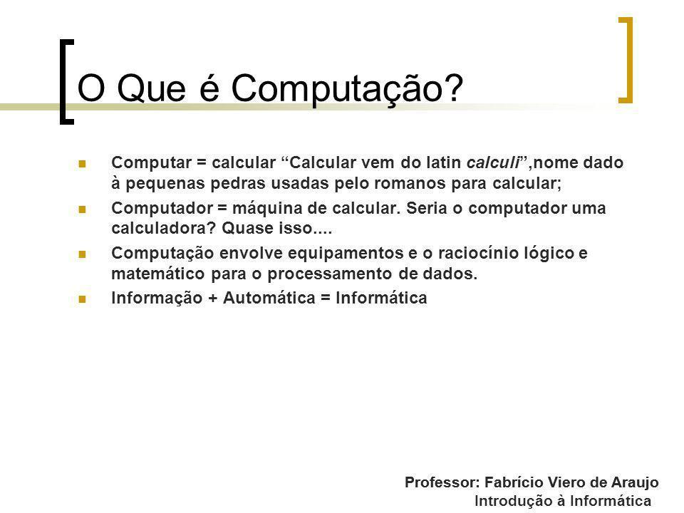 O Que é Computação Computar = calcular Calcular vem do latin calculi ,nome dado à pequenas pedras usadas pelo romanos para calcular;