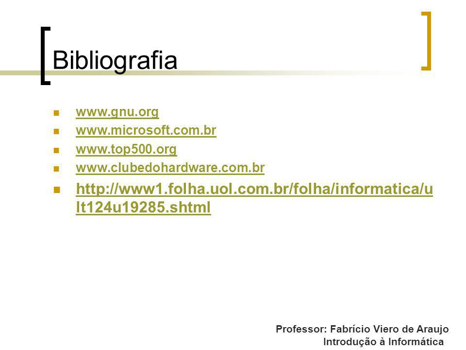 Bibliografia www.gnu.org. www.microsoft.com.br. www.top500.org. www.clubedohardware.com.br.
