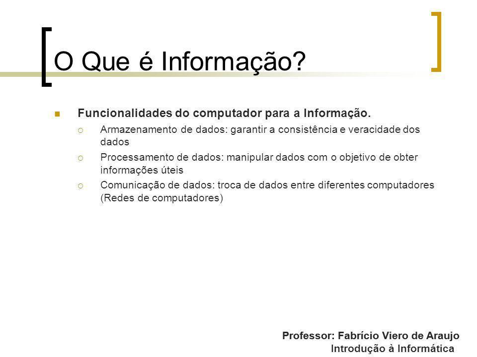 O Que é Informação Funcionalidades do computador para a Informação.
