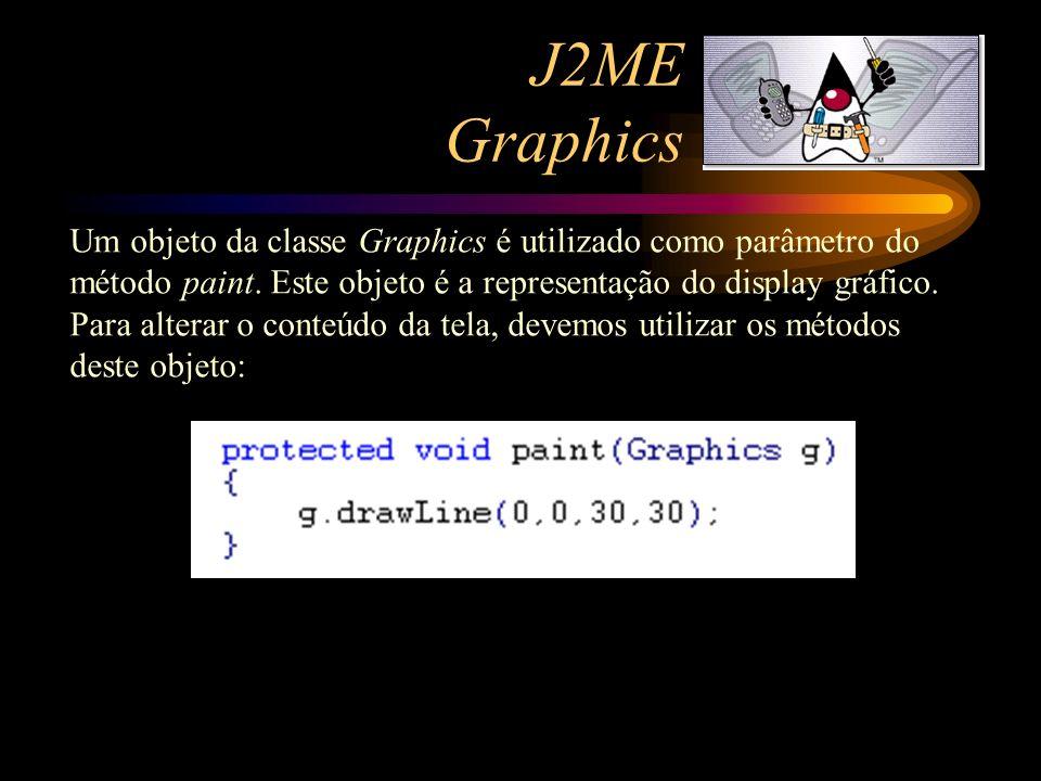 J2ME Graphics Um objeto da classe Graphics é utilizado como parâmetro do método paint. Este objeto é a representação do display gráfico.