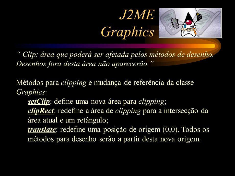 J2ME Graphics Clip: área que poderá ser afetada pelos métodos de desenho. Desenhos fora desta área não aparecerão.