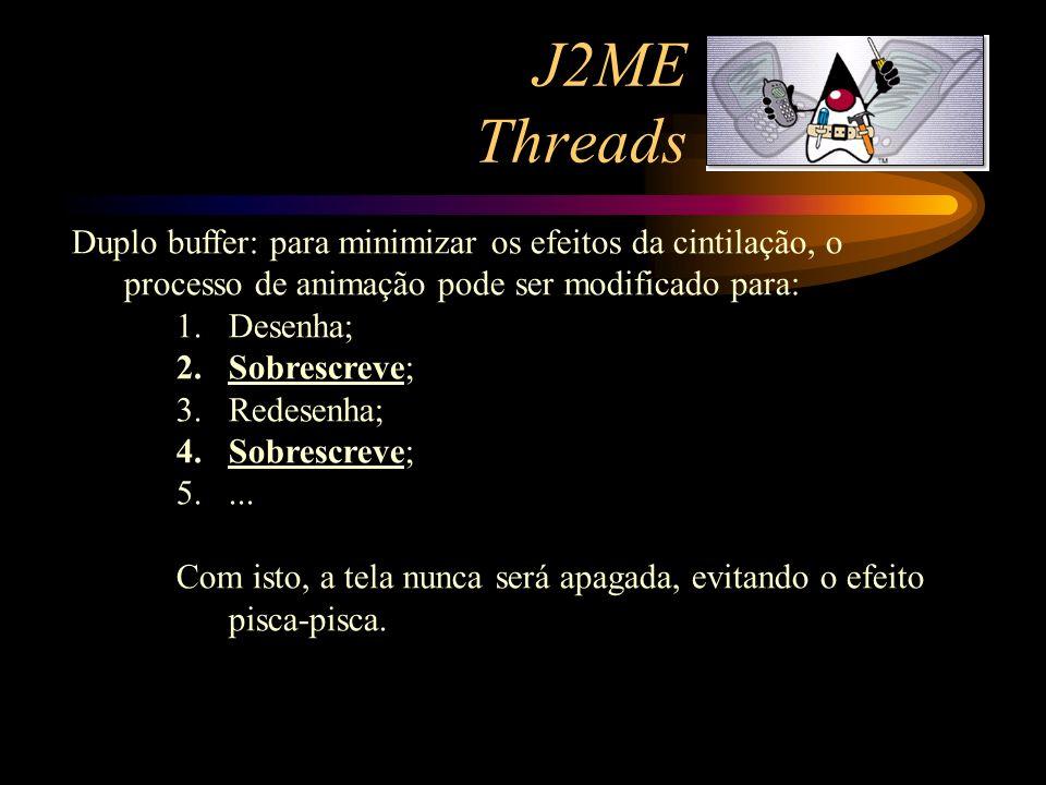J2ME Threads Duplo buffer: para minimizar os efeitos da cintilação, o processo de animação pode ser modificado para: