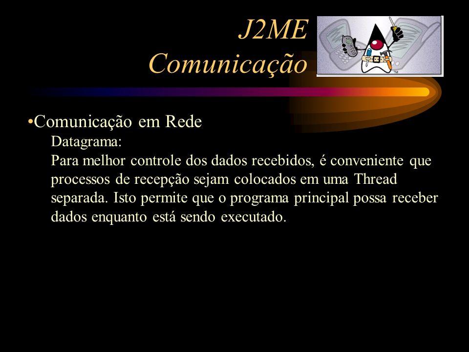 J2ME Comunicação Comunicação em Rede Datagrama: