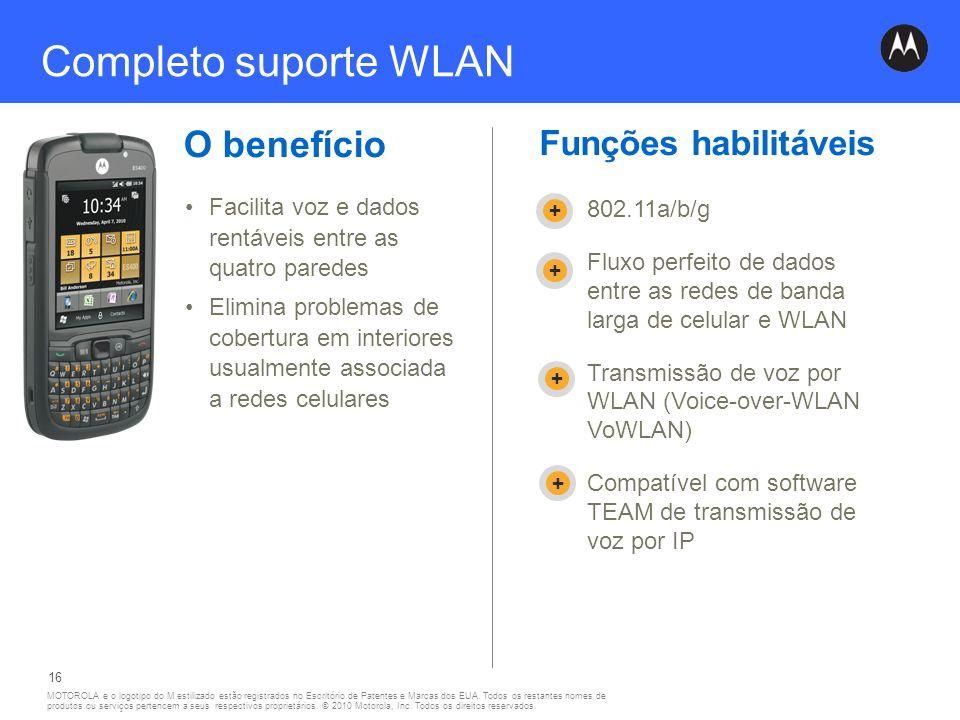Completo suporte WLAN O benefício Funções habilitáveis