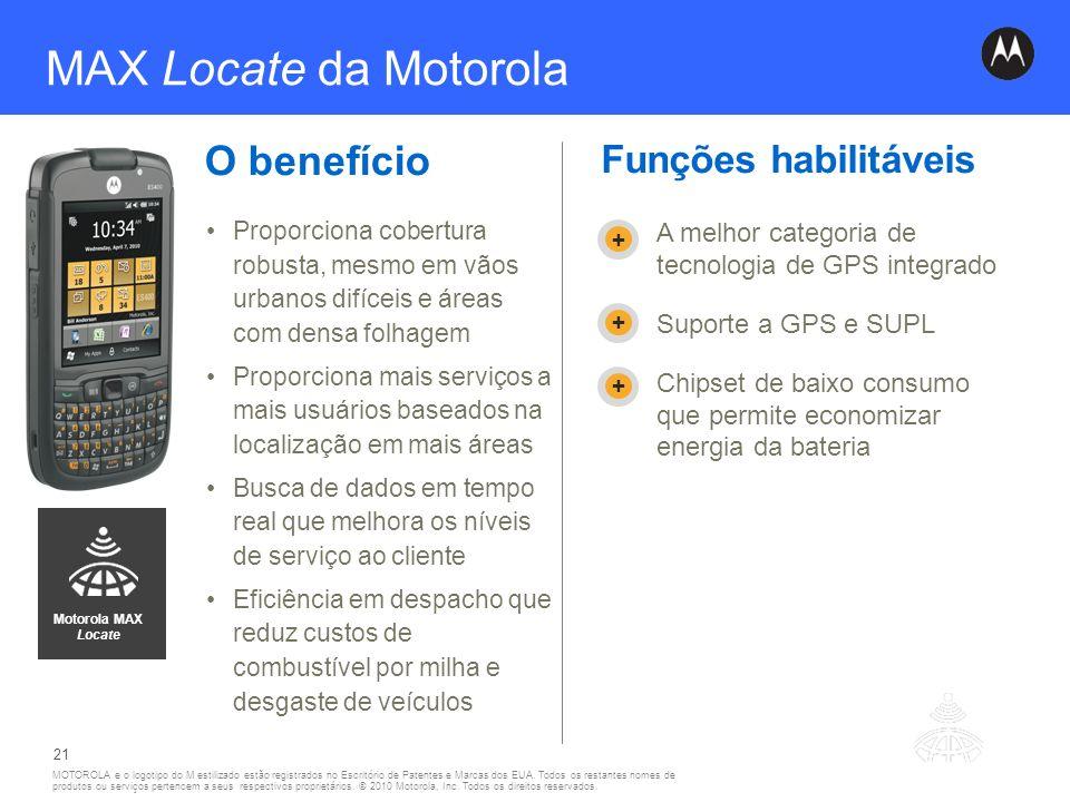 MAX Locate da Motorola O benefício Funções habilitáveis