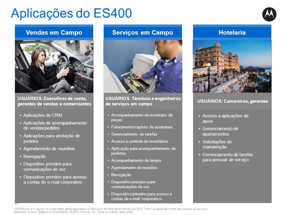 Aplicações do ES400 Vendas em Campo Serviços em Campo Hotelaria