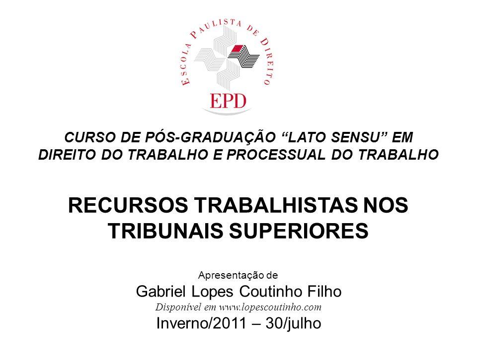 DIREITO DO TRABALHO E PROCESSUAL DO TRABALHO RECURSOS TRABALHISTAS NOS