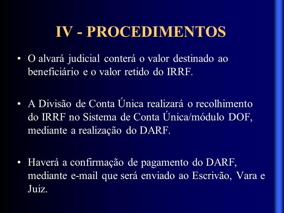 IV - PROCEDIMENTOS O alvará judicial conterá o valor destinado ao beneficiário e o valor retido do IRRF.