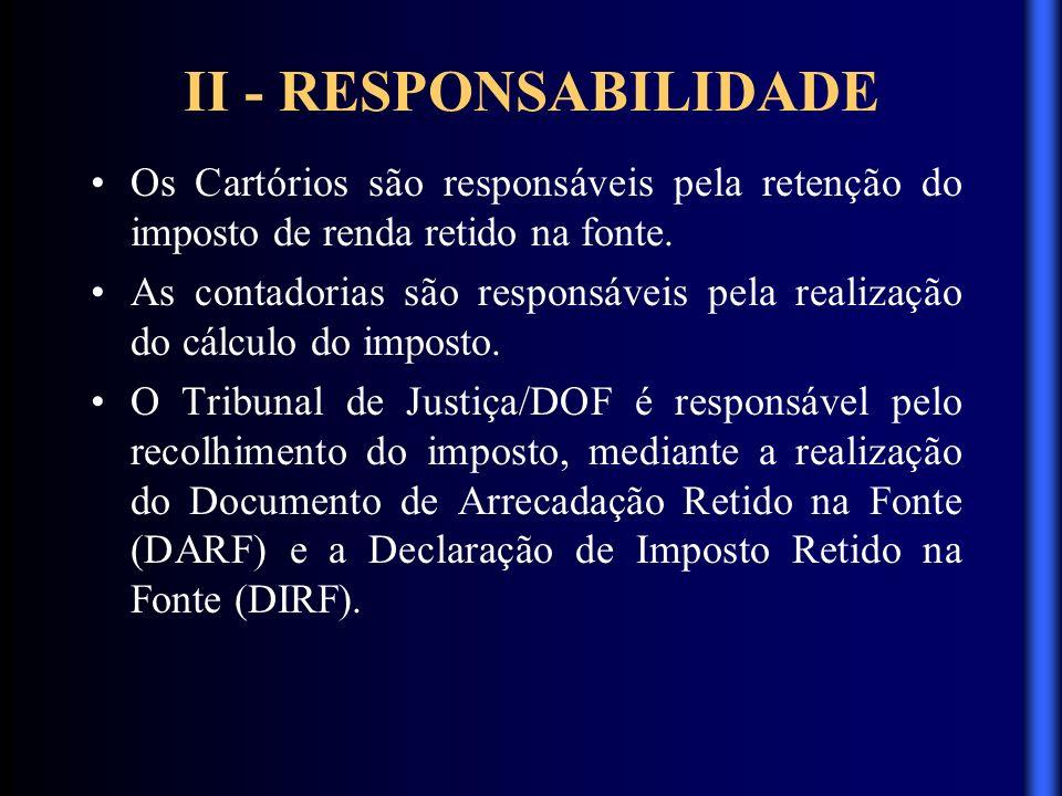 II - RESPONSABILIDADE Os Cartórios são responsáveis pela retenção do imposto de renda retido na fonte.