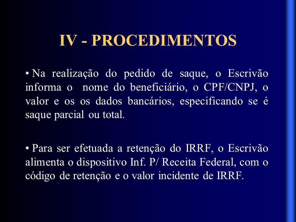 IV - PROCEDIMENTOS