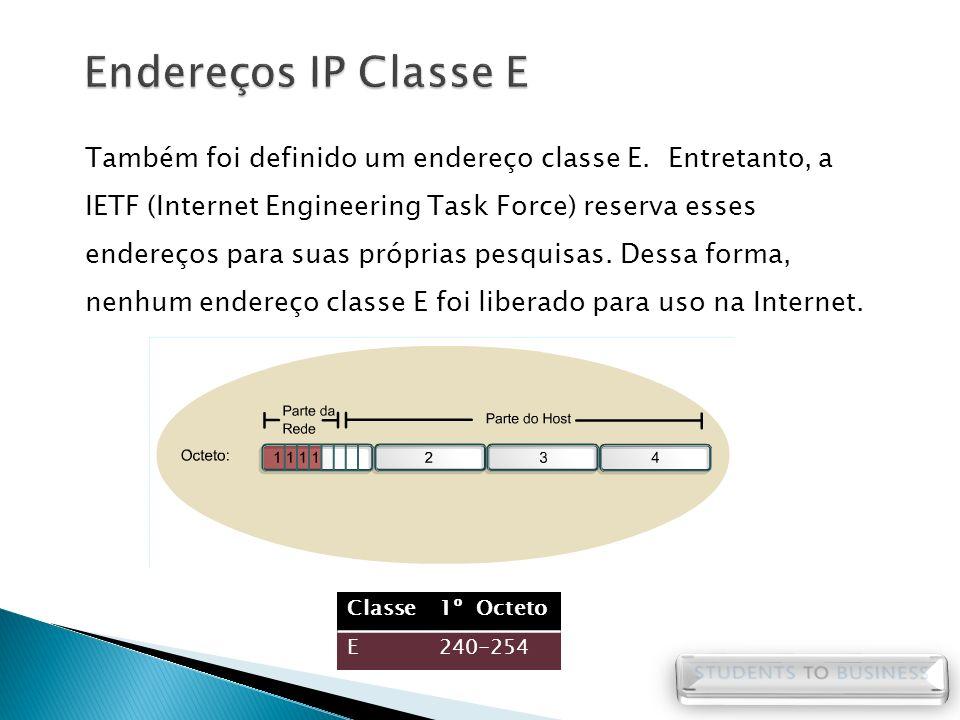 Endereços IP Classe E