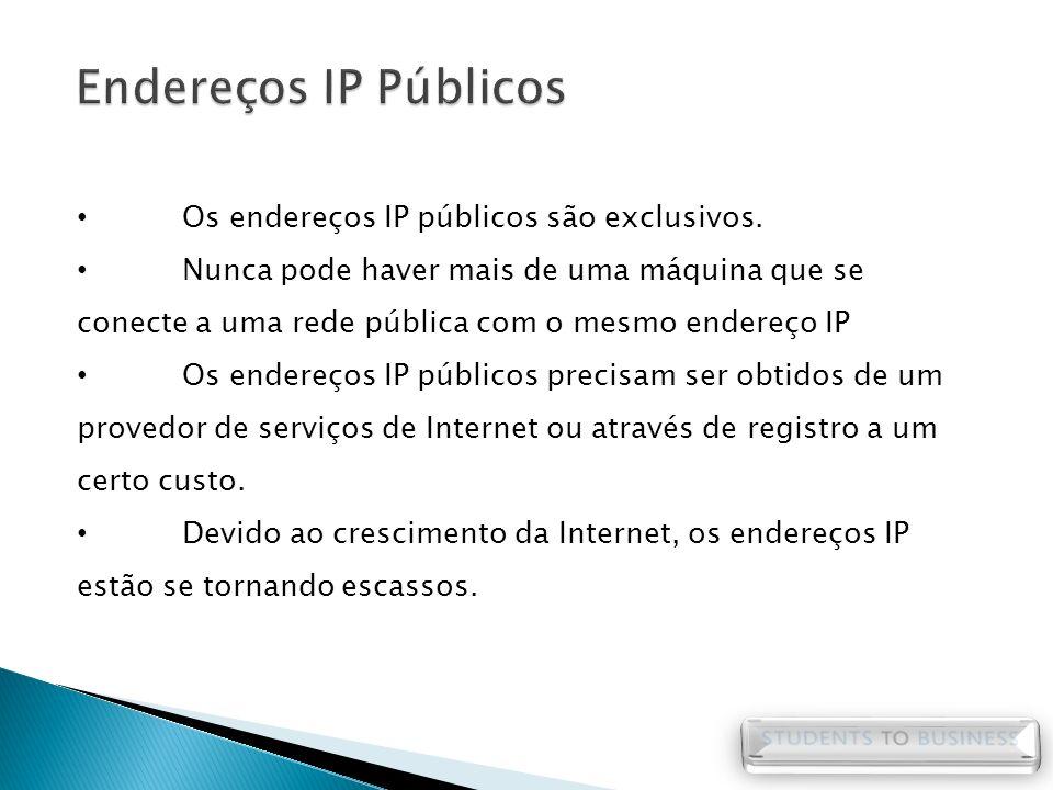 Endereços IP Públicos Os endereços IP públicos são exclusivos.