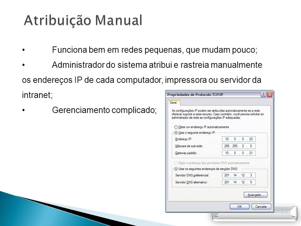 Atribuição Manual Funciona bem em redes pequenas, que mudam pouco;