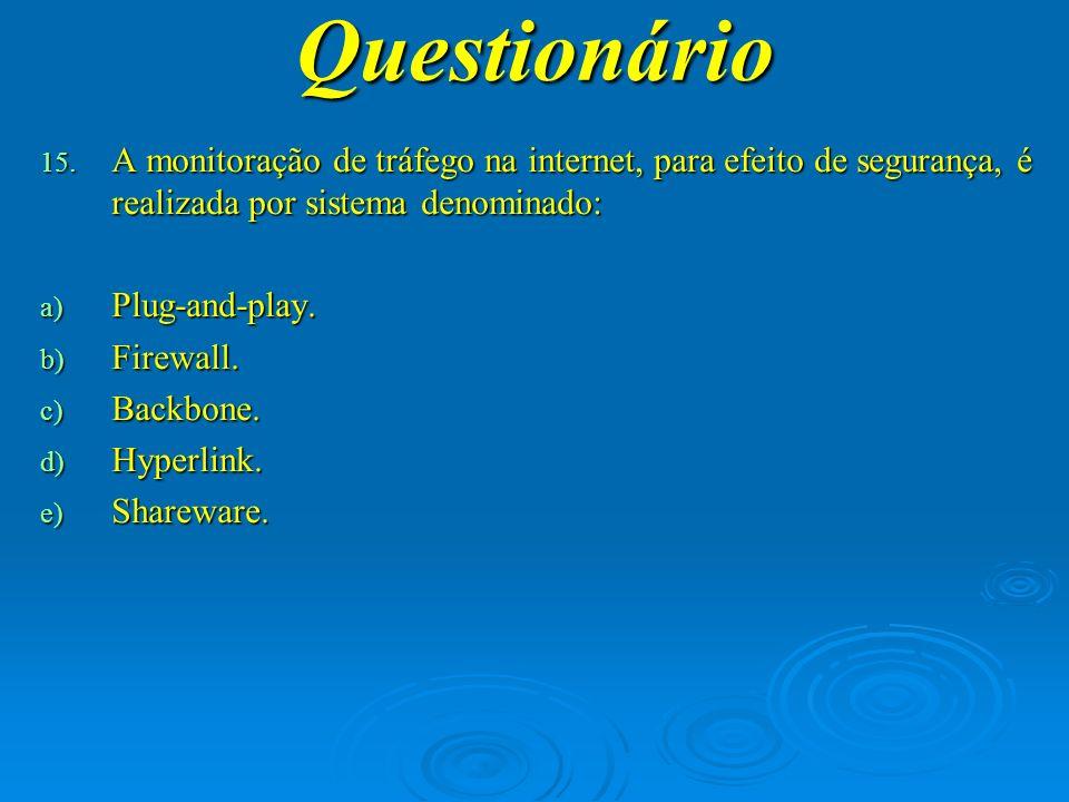 Questionário A monitoração de tráfego na internet, para efeito de segurança, é realizada por sistema denominado:
