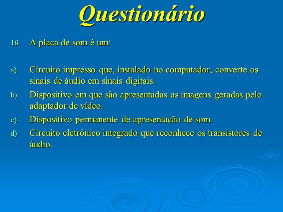 Questionário A placa de som é um: