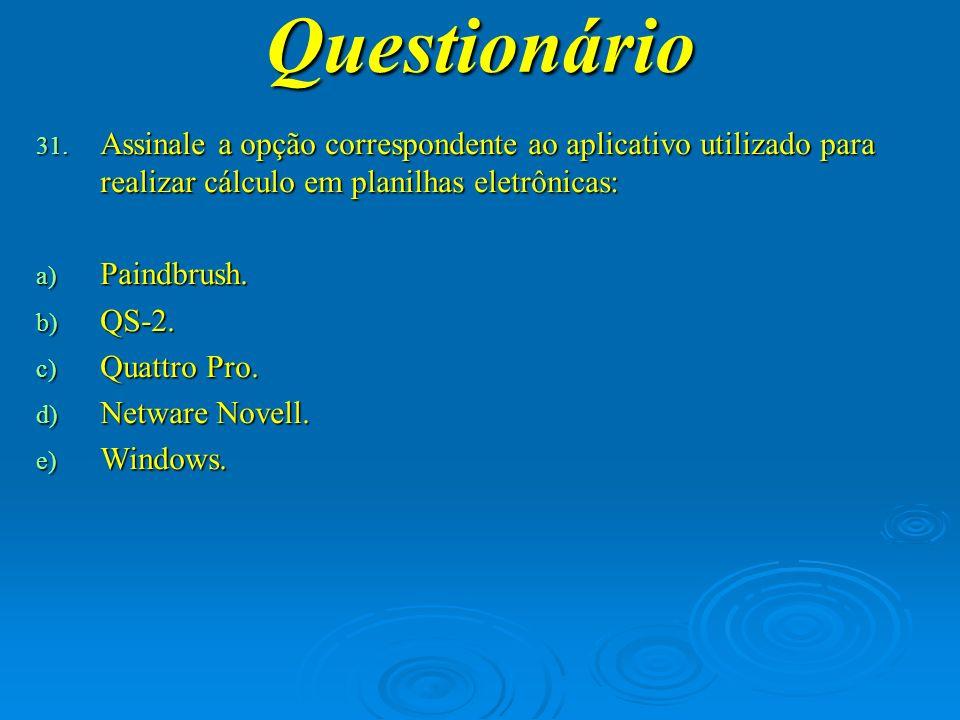 Questionário Assinale a opção correspondente ao aplicativo utilizado para realizar cálculo em planilhas eletrônicas: