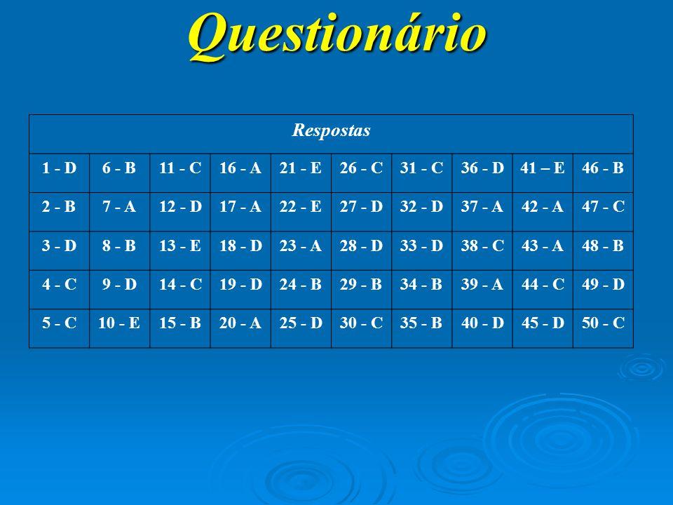 Questionário Respostas 1 - D 6 - B 11 - C 16 - A 21 - E 26 - C 31 - C